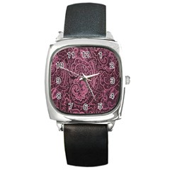 Abstract Purple Background Natural Motive Square Metal Watch