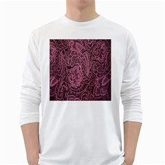 Abstract Purple Background Natural Motive White Long Sleeve T-Shirts