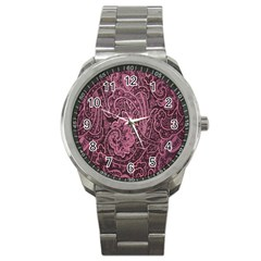 Abstract Purple Background Natural Motive Sport Metal Watch