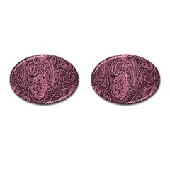 Abstract Purple Background Natural Motive Cufflinks (Oval)