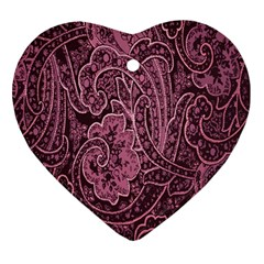 Abstract Purple Background Natural Motive Heart Ornament (Two Sides)