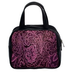 Abstract Purple Background Natural Motive Classic Handbags (2 Sides)