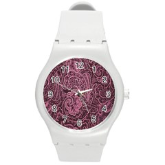 Abstract Purple Background Natural Motive Round Plastic Sport Watch (M)