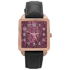 Abstract Purple Background Natural Motive Rose Gold Leather Watch