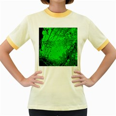 Leaf Outline Abstract Women s Fitted Ringer T Shirts