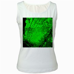 Leaf Outline Abstract Women s White Tank Top