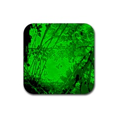 Leaf Outline Abstract Rubber Square Coaster (4 Pack)