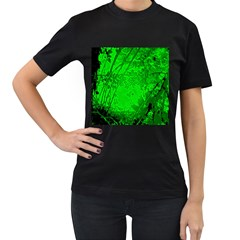 Leaf Outline Abstract Women s T-Shirt (Black) (Two Sided)