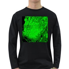 Leaf Outline Abstract Long Sleeve Dark T-Shirts