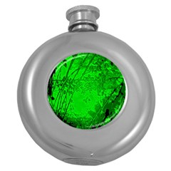 Leaf Outline Abstract Round Hip Flask (5 Oz)