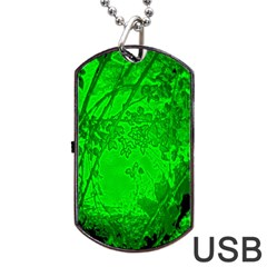 Leaf Outline Abstract Dog Tag USB Flash (One Side)
