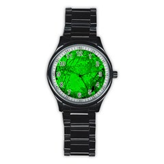 Leaf Outline Abstract Stainless Steel Round Watch
