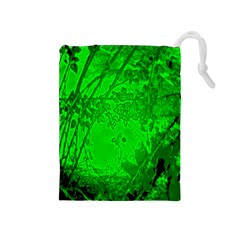 Leaf Outline Abstract Drawstring Pouches (Medium)