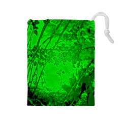 Leaf Outline Abstract Drawstring Pouches (large)