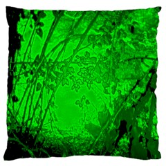 Leaf Outline Abstract Large Flano Cushion Case (One Side)