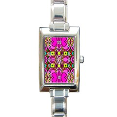 Colourful Abstract Background Design Pattern Rectangle Italian Charm Watch