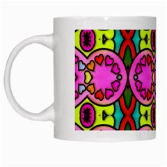 Colourful Abstract Background Design Pattern White Mugs