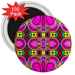 Colourful Abstract Background Design Pattern 3  Magnets (100 Pack)