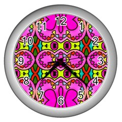 Colourful Abstract Background Design Pattern Wall Clocks (Silver)
