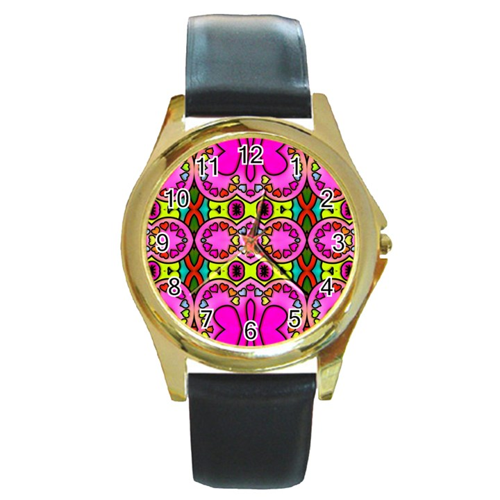 Colourful Abstract Background Design Pattern Round Gold Metal Watch