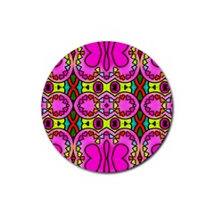 Colourful Abstract Background Design Pattern Rubber Round Coaster (4 pack)