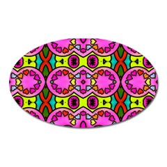 Colourful Abstract Background Design Pattern Oval Magnet