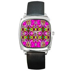 Colourful Abstract Background Design Pattern Square Metal Watch