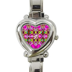 Colourful Abstract Background Design Pattern Heart Italian Charm Watch