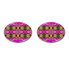 Colourful Abstract Background Design Pattern Cufflinks (Oval)