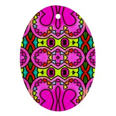 Colourful Abstract Background Design Pattern Oval Ornament (two Sides)