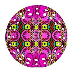 Colourful Abstract Background Design Pattern Round Filigree Ornament (two Sides)