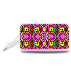 Colourful Abstract Background Design Pattern Portable Speaker (White)