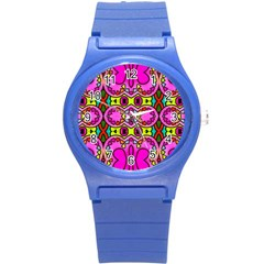 Colourful Abstract Background Design Pattern Round Plastic Sport Watch (S)