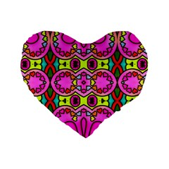 Colourful Abstract Background Design Pattern Standard 16  Premium Heart Shape Cushions