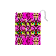 Colourful Abstract Background Design Pattern Drawstring Pouches (small)