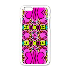 Colourful Abstract Background Design Pattern Apple iPhone 6/6S White Enamel Case