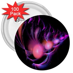 Fractal Image Of Pink Balls Whooshing Into The Distance 3  Buttons (100 Pack)