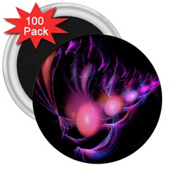 Fractal Image Of Pink Balls Whooshing Into The Distance 3  Magnets (100 Pack)