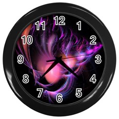 Fractal Image Of Pink Balls Whooshing Into The Distance Wall Clocks (black)