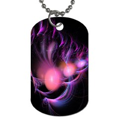 Fractal Image Of Pink Balls Whooshing Into The Distance Dog Tag (one Side)