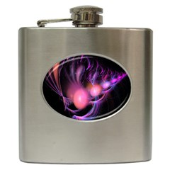 Fractal Image Of Pink Balls Whooshing Into The Distance Hip Flask (6 Oz)