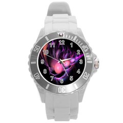 Fractal Image Of Pink Balls Whooshing Into The Distance Round Plastic Sport Watch (L)