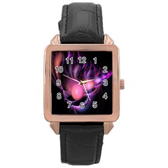 Fractal Image Of Pink Balls Whooshing Into The Distance Rose Gold Leather Watch