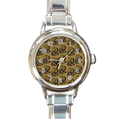 Art Abstract Artistic Seamless Background Round Italian Charm Watch