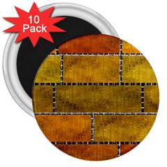 Classic Color Bricks Gradient Wall 3  Magnets (10 Pack)