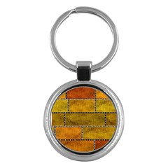 Classic Color Bricks Gradient Wall Key Chains (round)