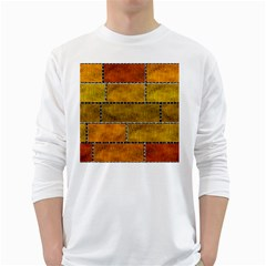 Classic Color Bricks Gradient Wall White Long Sleeve T-Shirts