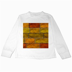Classic Color Bricks Gradient Wall Kids Long Sleeve T Shirts