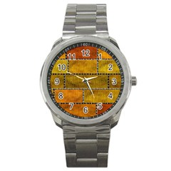Classic Color Bricks Gradient Wall Sport Metal Watch