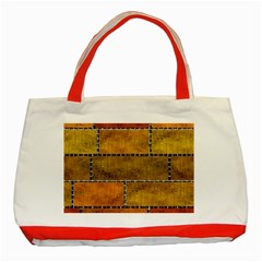 Classic Color Bricks Gradient Wall Classic Tote Bag (Red)
